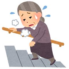 息切れして階段を登るお婆さん