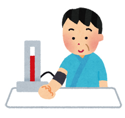 血圧を測っている男性