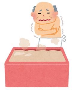 風呂場でふるえる老人